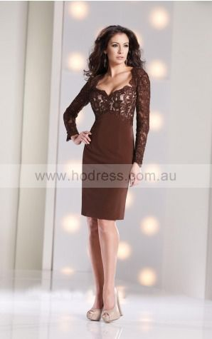Long Sleeves Zipper Scoop Knee-length Chiffon Formal Dresses d130604144--Hodress
