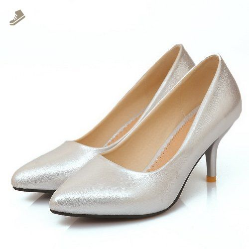 VogueZone009 Womens Closed Pointed Toe Kitten Heel Spikes Stilettos Soft Materia PU Solid Pumps, Silver, 10.5 B(M) US - Voguezone009 pumps for women (*Amazon Partner-Link)