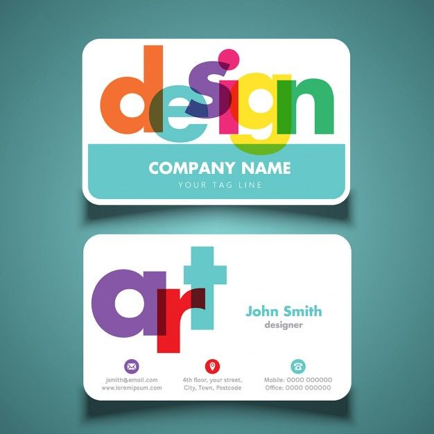 Modern and colorful business cards Free Vector