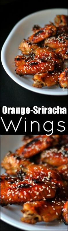If you like sweet + spicy then these Orange-Sriracha Wings will be your favorite thing ever! Perfect for game-day party food! We can't get enough!