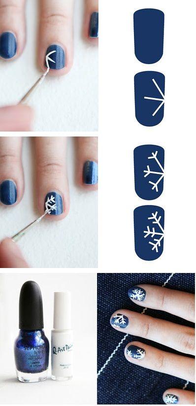 Easy snowflake nails.