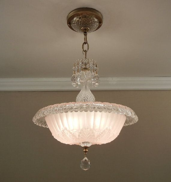 Vintage Chandelier 1930's Antique Art Deco Soft Pink ROLLED RIM Pressed Glass Ceiling Light Fixture Rewired