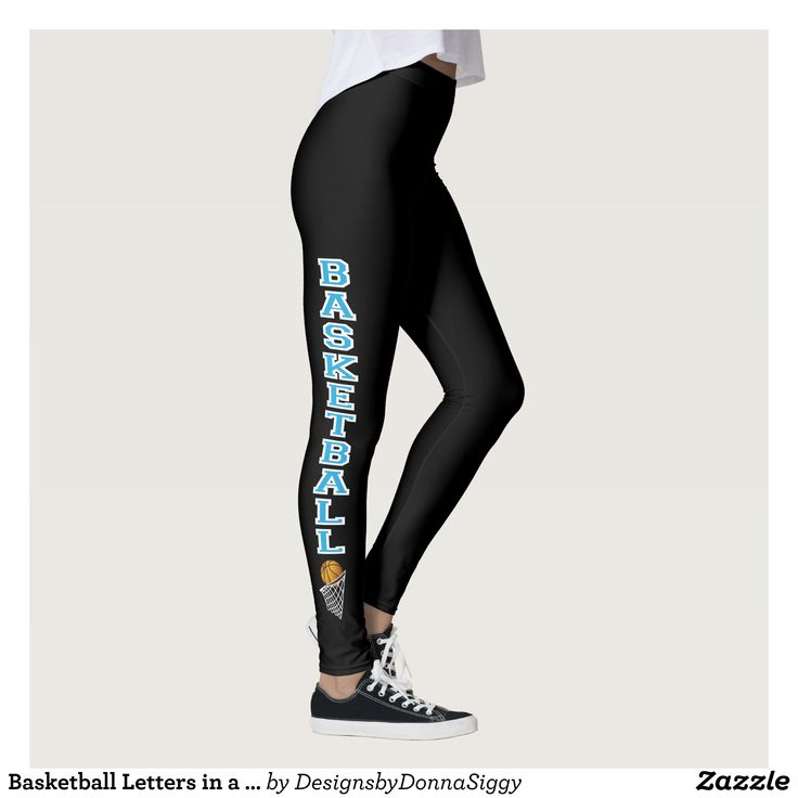 Basketball Letters in a Baby Blue Leggings : Beautiful #Yoga Pants - #Exercise Leggings and #Running Tights - Health and Training Inspiration - Clothing for #Fitspiration and #Fitspo - Strong Female and Female Empowerment Apparel - #Fitness and Gym Inspo - #Motivational Colorful Workout Clothes by Talented Graphic Designers