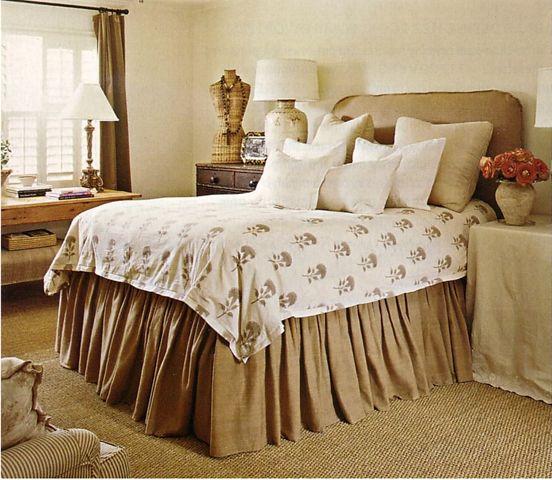 headboard and bed skirt: Guest Room, Bedskirt Ginger Barber, Bedroom Design, Burlap Bedskirt, Master Bedroom, Bedrooms, Burlap Bedroom, Bedroom Ideas