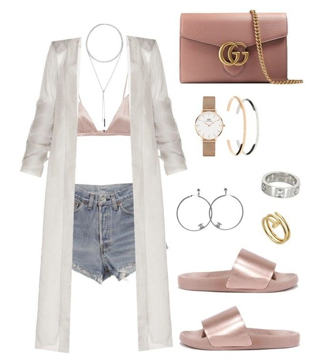 """Untitled #248"" by cryamilet19 on Polyvore featuring Levi's, Fleur du Mal, Bamboo, Gucci, W. Britt, Daniel Wellington, Chanel and Cartier"