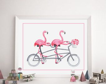 Pink flamingo card in tandem bicycle cycling by AmelieLegault