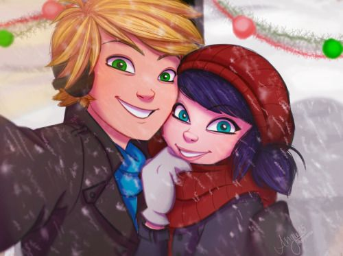 """angiensca:  This drawing is inspired by the fanfic""""Secret Santa"""" by @thelastpilot it is literally the CUTEST THING I'VE EVER READ!! This is supposed to be the scene where Adrien and Marinette take their first selfie together :3 I hope I did it justice!(for those who'd like to read the fic, here's the link to all of the parts so far!)"""