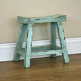 Shabby Vintage Chic Wooden Stool With A Scooped Seat 163 45