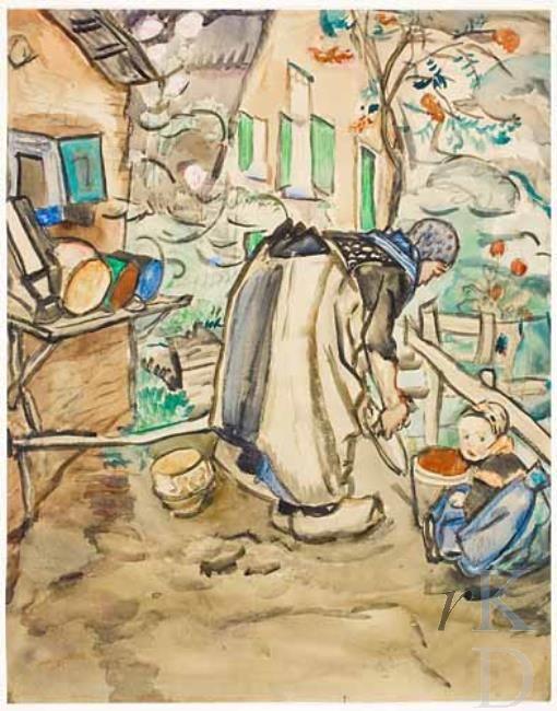 Jan Sluijters Werken in een tuin, 1915 Bonhams (Londen (Engeland)), nr. 54 #Overijssel #Staphorst