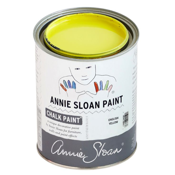 Chalk Paint® by Annie Sloan in English Yellow, a bright traditional yellow. Annie Sloan first developed her signature range of furniture paint in 1990, calling it 'Chalk Paint®' because of this decorative paint's velvety, matte finish.