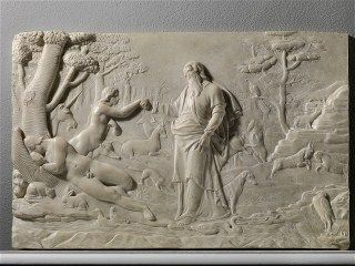 PIETRO PAOLO OLIVIERI (Rome, ca. 1551 – 1599)  Creation of Eve, 1580 - 1585  White marble relief, cm. 44x64,5