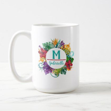 Tropical Floral Palm Wreath Monogram Initial Name Coffee Mug - floral style flower flowers stylish diy personalize