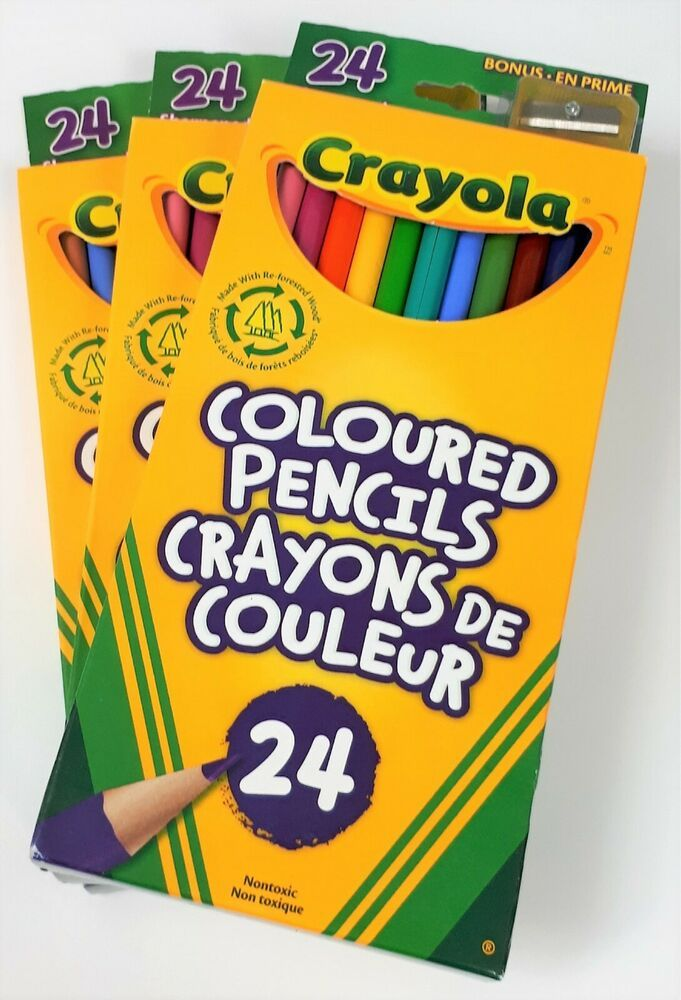 Details About Lot Of 3 Crayola Coloured Pencils Set Of 24