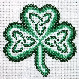 shamrock by claddagh cross stitch free chart for cross stitch.