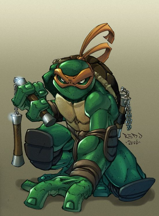 "Teenage Mutant Ninja Turtles fan art-09.  The Ninja Turtles are cool I suppose. I've only seen very few episodes but never liked them. I think it's because every turtle that has green/blue eyes is always the hero but the one with the brown eyes is kind of ""dumb"" or never really suggest anything that can ""save the world"". Also because... this cartoon never really caught my attention."