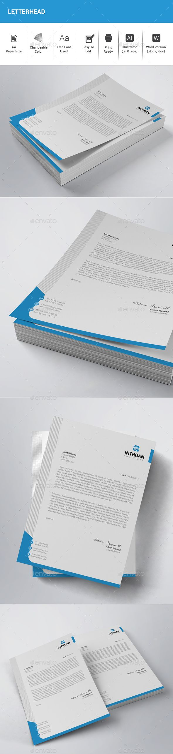 Letterhead   Features:  • Illustrator (.ai & .eps) • MS Word Included (.docx & .doc) • Very Easy to Edit • Page size A4 (210×297mm) • Bleed 0.25 inch • Only Free Fonts Used • CMYK, 300DPI, Print Ready  Fonts Used: • Roboto