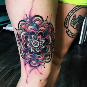 Watercolor thigh piece by Justin Giordano