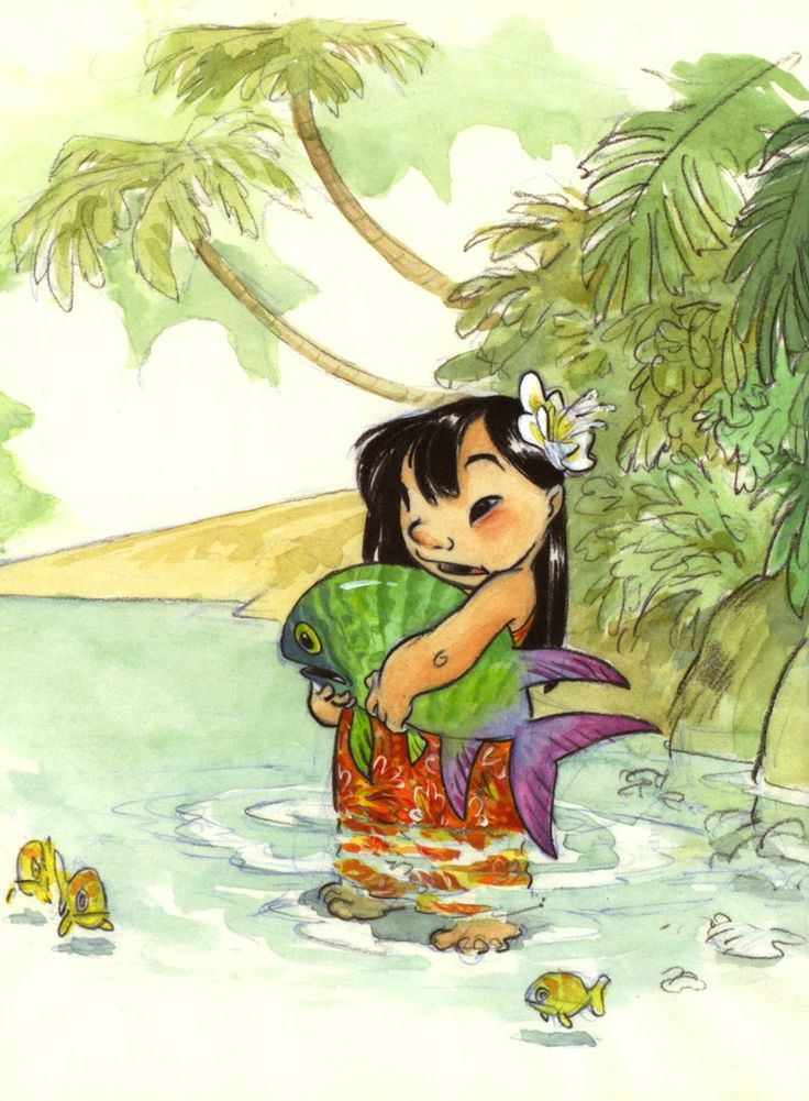 Okay this just might be the most ADORABLE piece of concept art I've ever seen. Look at the water, the fish and her arms and feet - Chris Sanders - Lilo