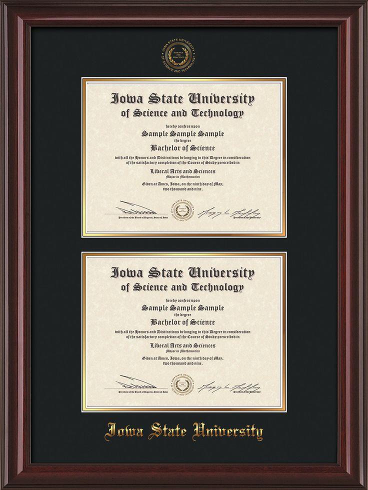 Iowa State U Diploma Frame - Mah Lacquer - w/ISU Seal - Double Diploma – Professional Framing Company