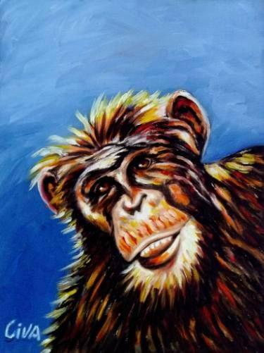 "Saatchi Art Artist Dan Civa; Painting, ""Chimpanzee portrait (chimp 13)"" #art"