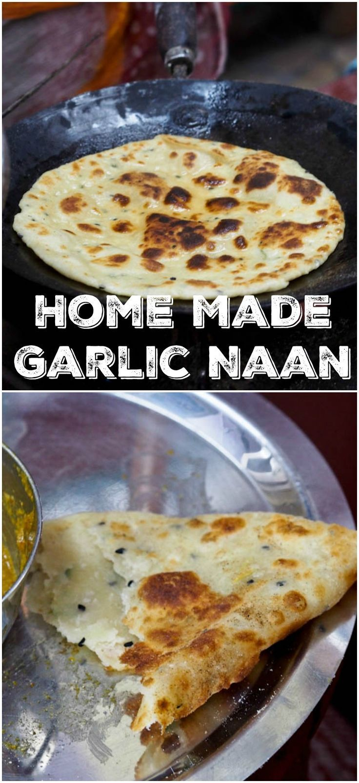 An authentic recipe for the classic Indian flat bread - garlic naan. My all time favorite bread for dipping into rich and creamy Indian curries. Only 4 ingredients required  |avocadopesto.com
