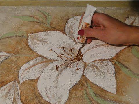 Мастер класс Как нарисовать цветы своими руками по декоративной штукатур...