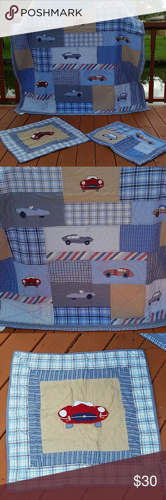 POTTERY BARN VINTAGE CARS QUILT SET Well maintained quilt and European sham and  standard size sham. Also, a bed skirt will be included to the bundle..colors are .grays...blues...with reds and white...Beautiful set!!! POTTERY BARN Other