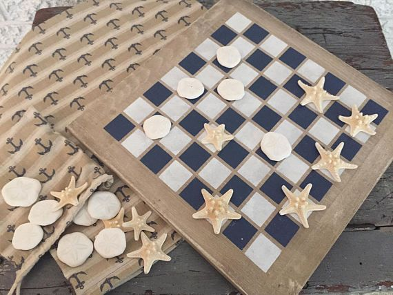 DELUXE Nautical Checkers Game Coastal Large Beach House