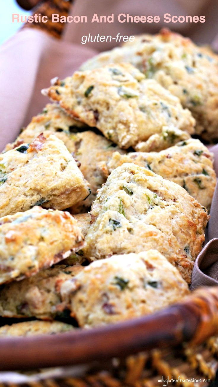 GLUTEN-FREE RUSTIC BACON AND CHEESE SCONES ~ When it comes to gluten-free baking, there is nothing simpler to make than scones. Savoury scones are especially popular because they can be used instead of bread for sandwiches or with hearty soups and stews.