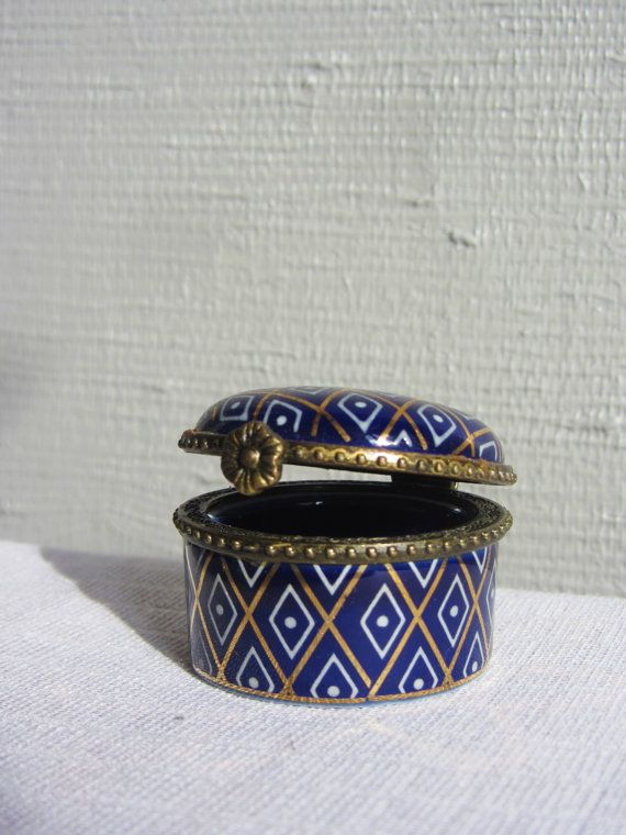 Colourful Vintage French Trinket Box ~ Small Porcelain Box ~ China Pot ~ Blue and Gold China Earring Pot ~ Pill Box