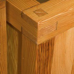 Japanese joinery,  through-tenon mitered mortise