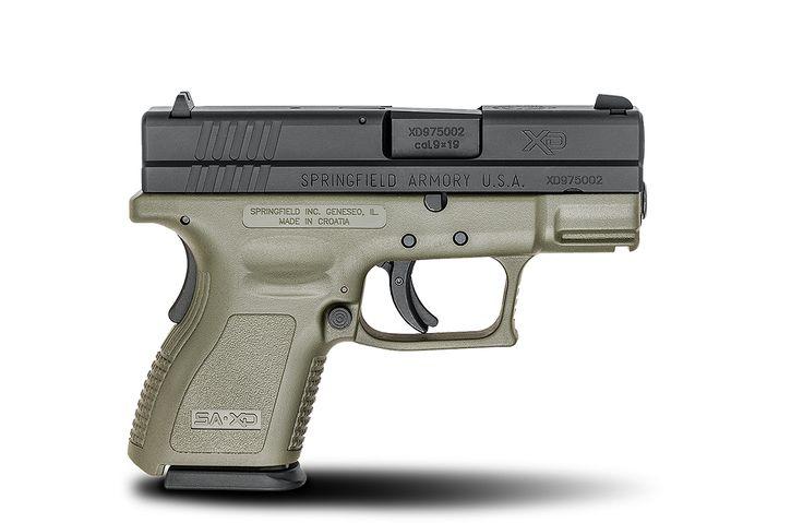 XD® 3″ Sub-Compact 9mm caliber #pistol in OD Green from Springfield Armory® #firearm #handgun