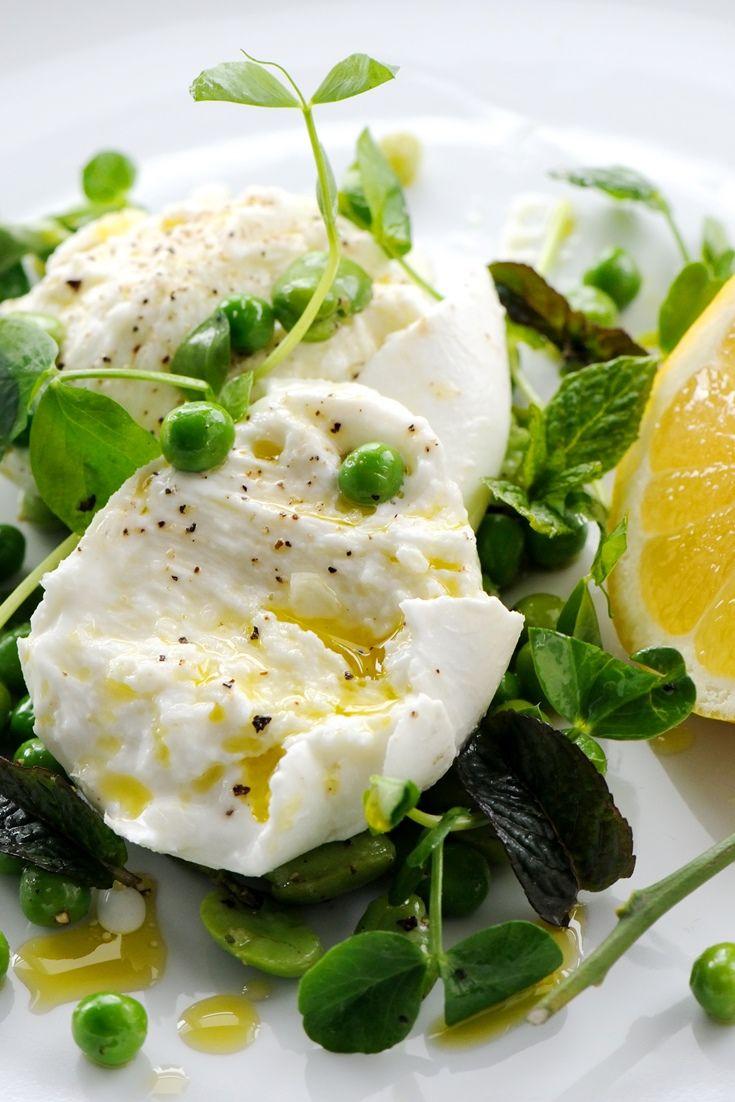 refreshing mozzarella salad recipe features fresh peas, broad beans ...