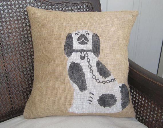 Manor House Staffordshire Dog  Burlap Pillow by nextdoortoheaven, $25.00