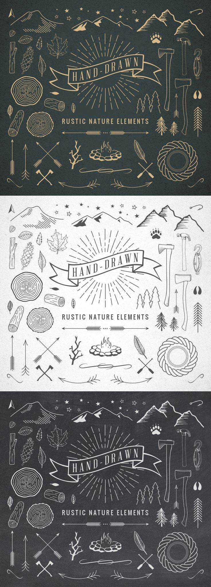 """Hand-Drawn Rustic Nature Elements"" by Adrian Pelletier."