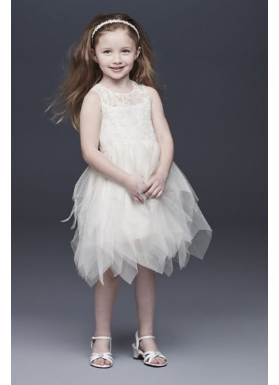 6279365f3 Handkerchief Hem Tulle and Lace Flower Girl Dress Style CR1396, Soft ...