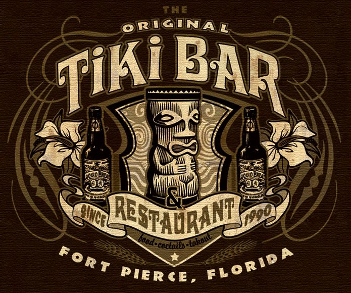 tiki bar and restaurant tee 2 by Greg Dampier - Illustrator & Graphic Artist of Lake Wales, Florida