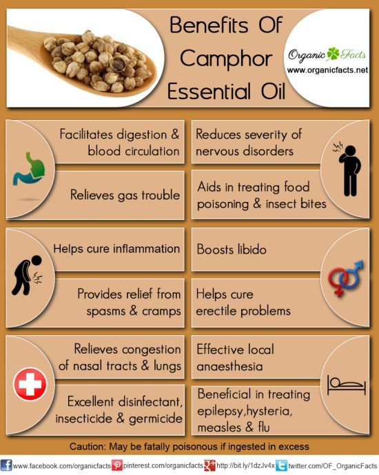 The health benefits of Camphor Essential Oil include it properties like stimulant, anti spasmodic, anti septic, decongestant, anesthetic, sedative and nervous pacifier, anti neuralgic, anti inflammatory, disinfectant, insecticide, etc.