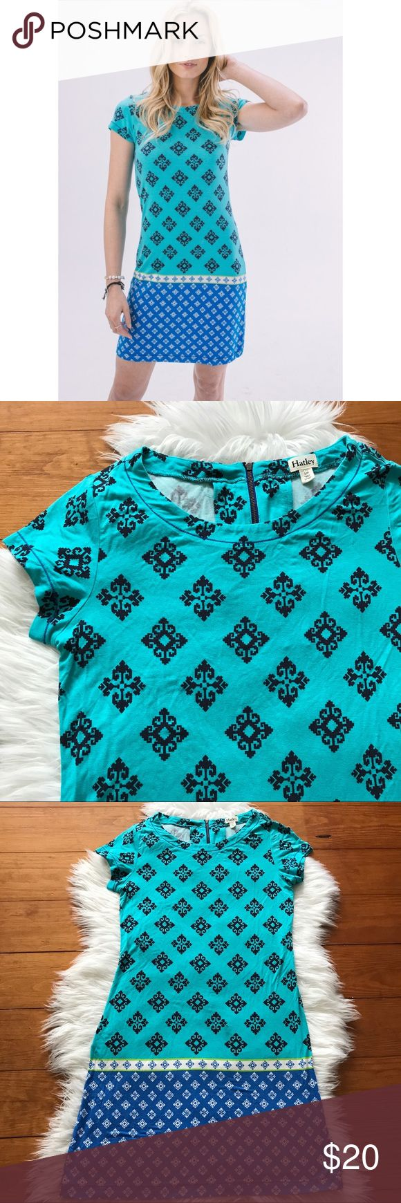 "Hatley Green Blue Patterned Aztec T Shirt Dress Please note that there is some minimal wash wear! Measurements: Armpit to armpit: 16"" Length: 35"" *E27 Hatley Dresses"
