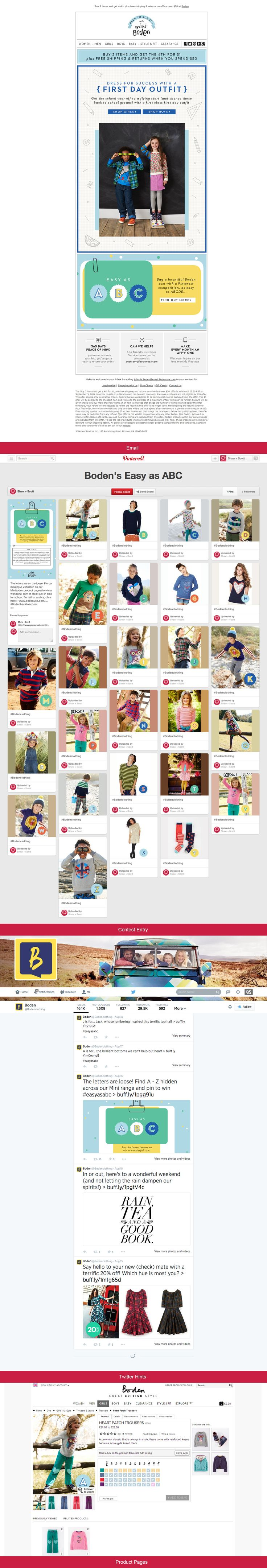 "This cross-channel ""Boden's Easy as ABC"" campaign is all about cleverly leveraging pinterest, twitter, web and email to engage the customer. Users create their own pinterest board and pin the missing A-Z letters (hidden on Miniboden product pages) to win a wonderful sum of credit. Plus, you can follow Boden's twitter site for hints. What a great way to add engagment and interest across all these social channels not to mention getting customers browsing and purchasing on their site."