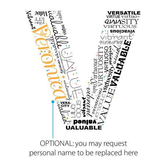 Positive Words Start With Letter V Alphabet V Monogram Letter V