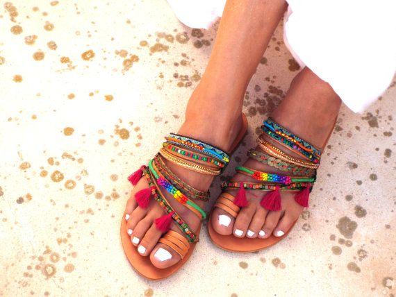 Aladin / zomer kleurrijke sandalen Griekse sandalen door DelosArt