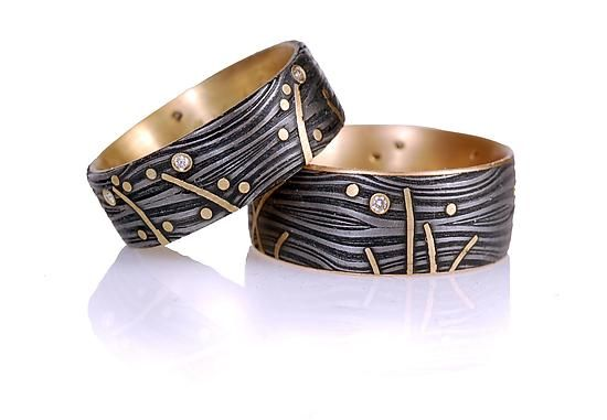 """""""Sea Floor Ring"""" Gold, Stone, & Steel Ring Victoria Moore Graphically fabulous damascus steel ring with gold lines and diamonds moving through the pattern of the steel."""