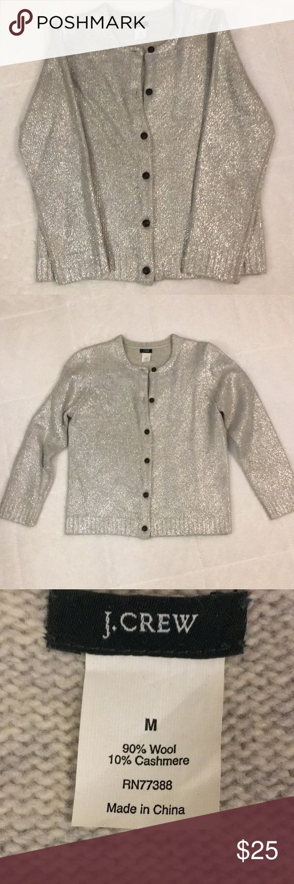 J. Crew Silver Cardigan Stunning silver cardigan. 90%wool 10% cashmere. Perfect condition. Beautiful for the holidays! J. Crew Sweaters Cardigans