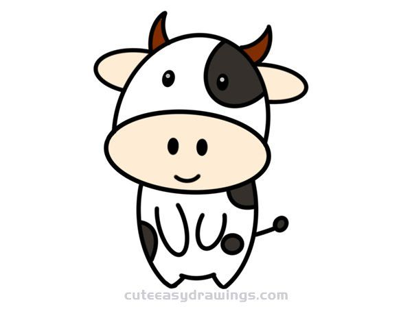 How To Draw A Cute Cartoon Cow Step By Step For Kids Cute Easy Drawings Cute Easy Drawings Cartoon Cow Cute Drawings