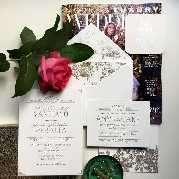 confetti daydreams wedding invitations%0A White and Champagne Wedding Invitation
