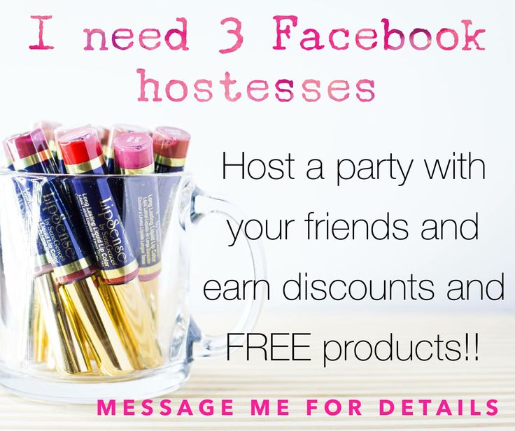I am currently looking for Facebook hostesses. It's easy, fun and free. Earn a free color and up to 30% off your order.  Message me for the hostess rewards breakdown. www.facebook.com/kissproofcolorsbystefanie #lipsense #hostessrewards #earnfreeproducts #kissproofcolorsbystefanie