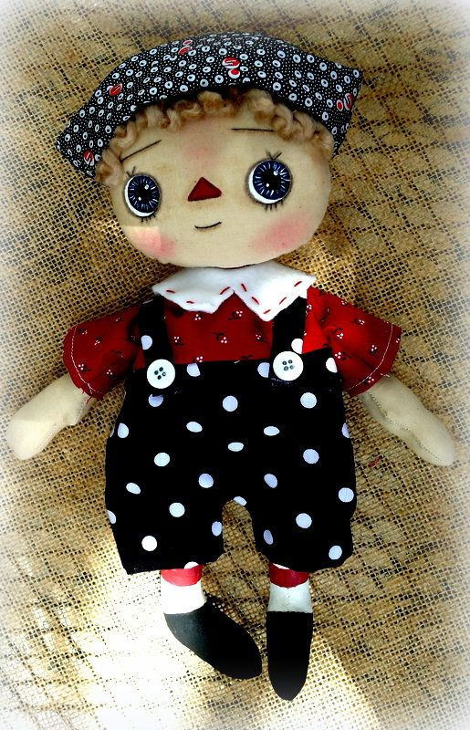 Primitivo trapo Raggedy Andy el niño de la muñeca muñeca