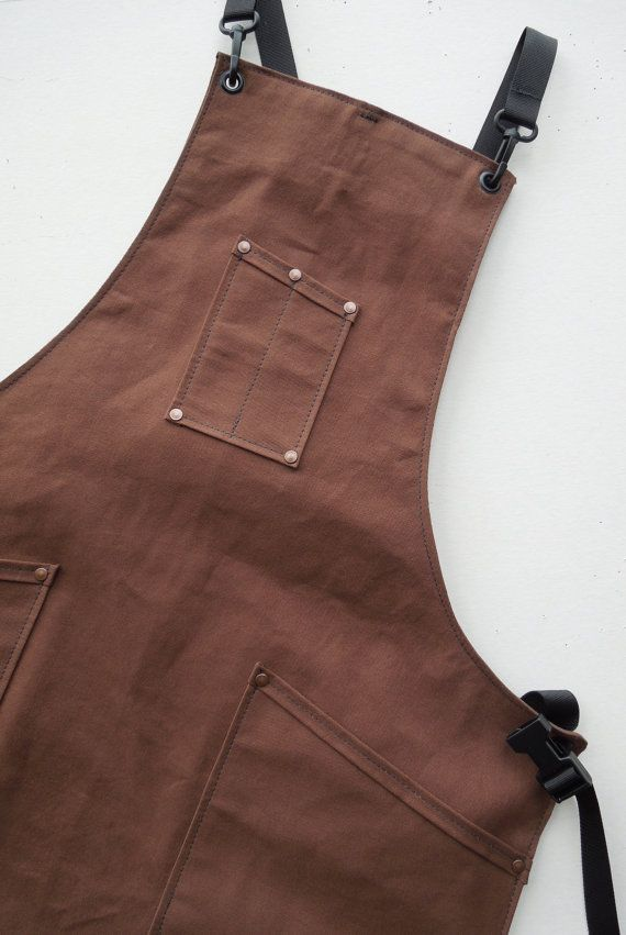 Sturdy canvas apron made by a Craftsman for Craftsman : Shown in Brown  No matter your craft: Woodworker, Barista, Bartender or Jewelry Maker, this