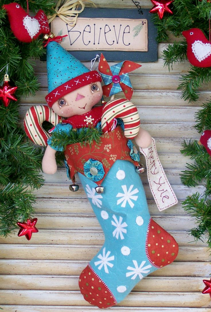 """I Believe"" stocking and doll pattern by Annie Smith Designs..."